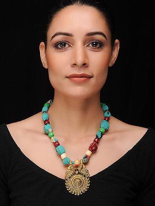 Blue-Multicolored Gold Tone Geogette Necklace