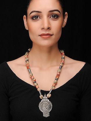 Multicolored Silver Tone Khadi Silk Necklace