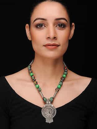 Green-Multicolored Silver Tone Khadi Silk Necklace