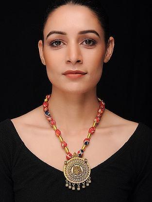 Red-Multicolored Gold Tone Khadi Silk Necklace