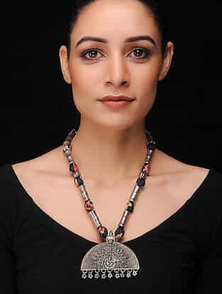 Black-Multicolored Silver Tone Khadi Silk Necklace