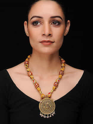 Yellow-Multicolored Gold Tone Khadi Silk Necklace