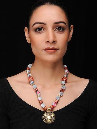 Grey-Multicolored Gold Tone Khadi Silk Necklace