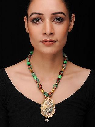 Green-Multicolored Gold Tone Khadi Silk Necklace