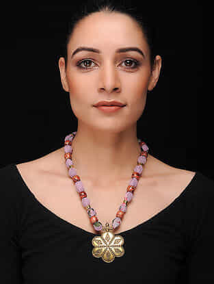 Purple-Multicolored Gold Tone Georgette Necklace