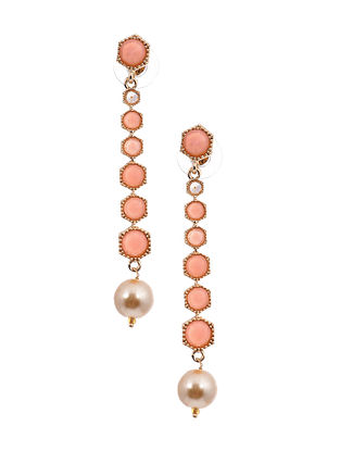 Peach Gold Tone Enameled Earrings with Pearls