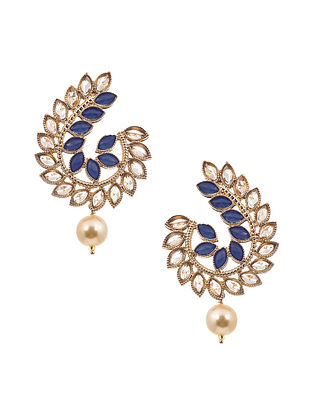 Blue Gold Tone Handcrafted Earrings with Rhinestones