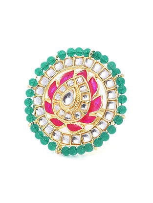 Green Pink Gold Tone Ring