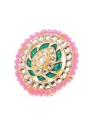 Pink Green Gold Tone Ring