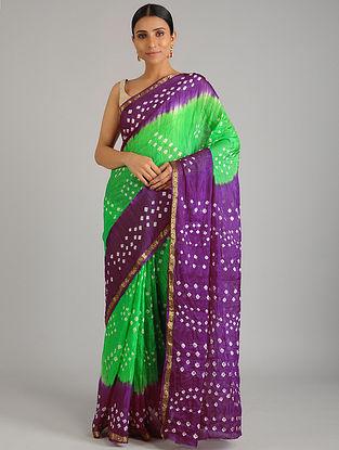 Green-Purple Bandhani Silk Saree
