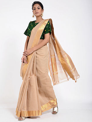 Beige Mangalgiri Cotton Saree with Zari