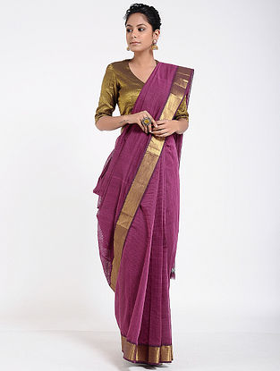 Purple Mangalgiri Cotton Saree with Zari
