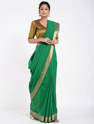 Green Mangalgiri Cotton Saree with Zari