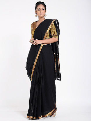 Black Mangalgiri Cotton Saree with Zari