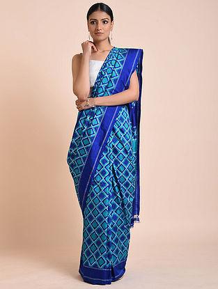 Blue Handwoven Double Ikat Silk Saree