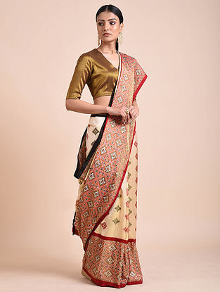 Red-Ivory Handwoven Double Ikat Silk Saree