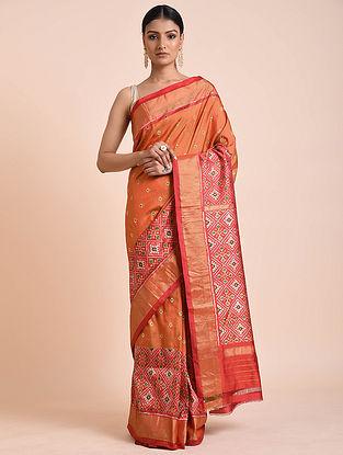 Orange Handwoven Double Ikat Silk Saree