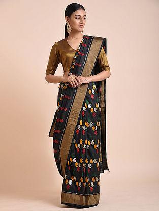 Black Handwoven Double Ikat Silk Saree