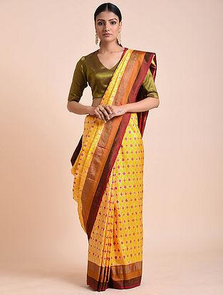 Yellow-Wine Handwoven Double Ikat Silk Saree