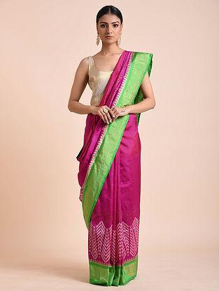 Pink-Green Handwoven Double Ikat Silk Saree