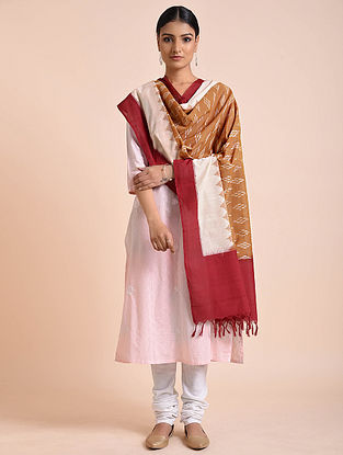 Beige-Maroon Handwoven Double Ikat Silk Dupatta