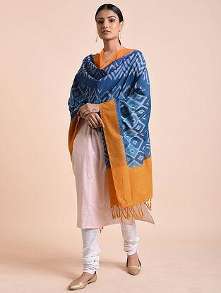 Blue-Mustard Handwoven Double Ikat Cotton Dupatta