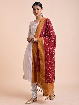 Maroon-Mustard Handwoven Double Ikat Cotton Dupatta
