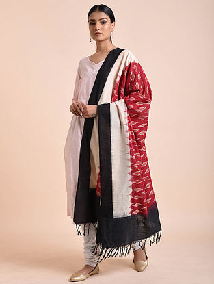 Red-Ivory Handwoven Double Ikat Cotton Dupatta