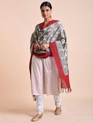 Grey-Maroon Handwoven Double Ikat Cotton Dupatta