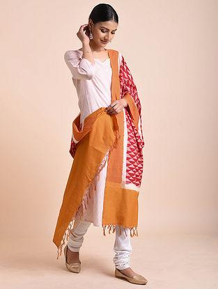 Red-Mustard Handwoven Double Ikat Cotton Dupatta