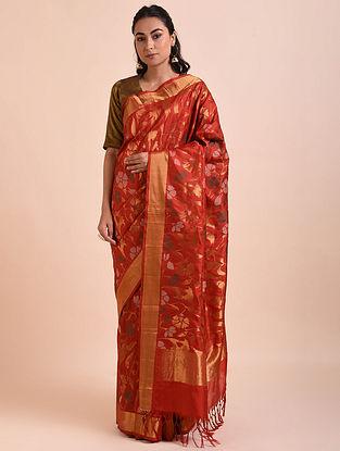 Red Handwoven Jamdani Mulberry Silk Saree
