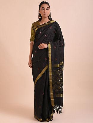 Black Handwoven Jamdani Mulberry Silk Saree