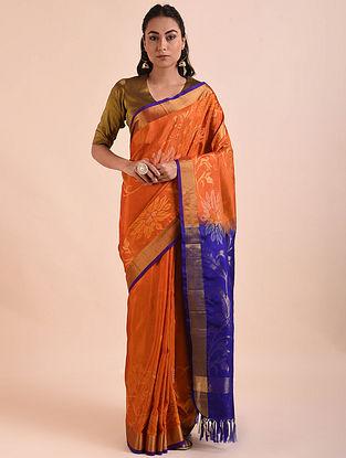 Orange-Blue Handwoven Jamdani Mulberry Silk Saree