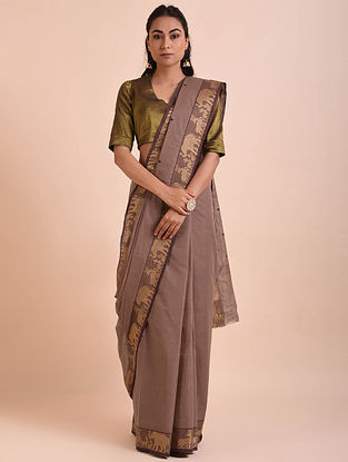 Taupe Handwoven Cotton Saree