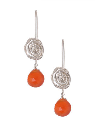 Classic Silver Earrings with Carnelian
