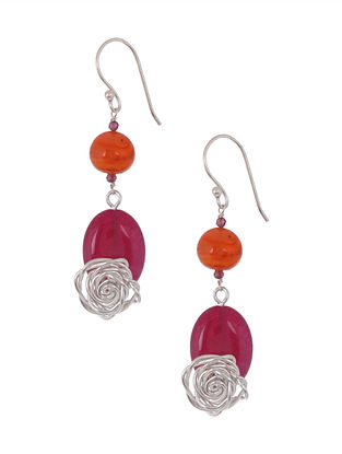 Classic Silver Earrings with Carnelian and Red Quartz