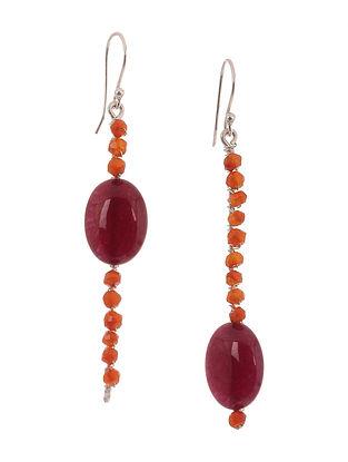 Red Quartz and Carnelian Silver Earrings
