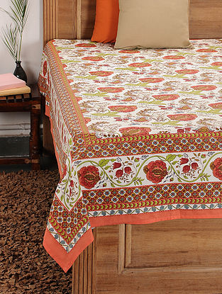 Multicolored Printed Cotton Double Bed Cover