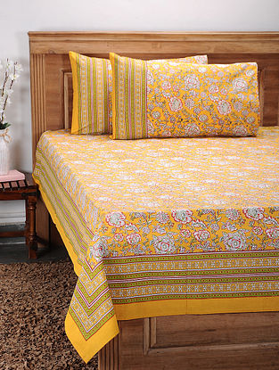 Multicolored Printed Cotton Double Bed Cover with Pillow Covers (Set of 3)