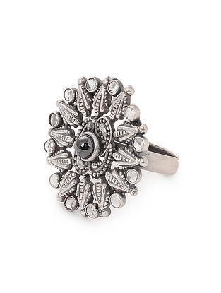 Black Tribal Silver Adjustable Ring