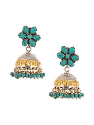 Dual Tone Tribal Silver Jhumki Earrings with Turquoise