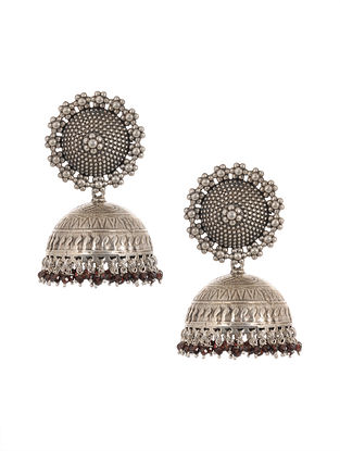 Tribal Silver Jhumki Earrings with Garnet