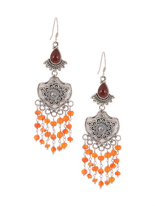 Maroon Orange Tribal Silver Earrings