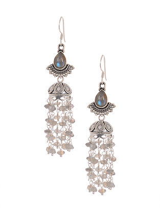 Tribal Silver Jhumki Earrings with Labradorite