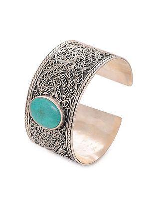 Tribal Silver Cuff with Turquoise