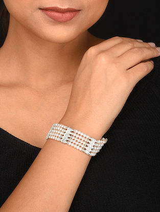 Tribal Silver Bracelet with Pearls