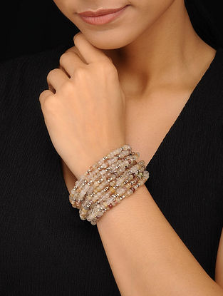 Rutile Beaded Silver Bracelet