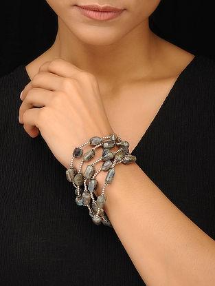 Labradorite Beaded Silver Bracelet