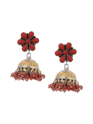 Dual Tone Silver Jhumki Earrings with Coral