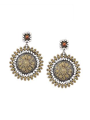 Orange Dual Tone Tribal Silver Earrings
